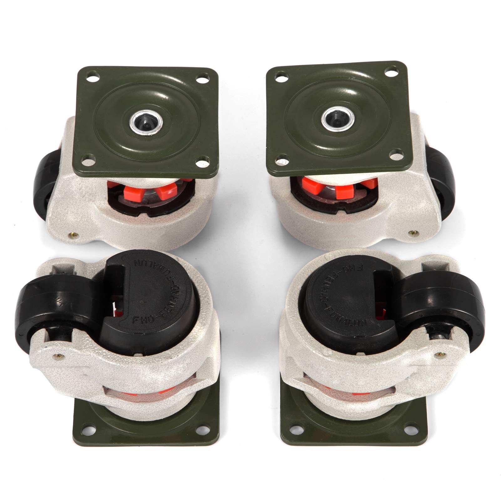 Happybuy 4 Pack Leveling Caster GD-80F Plate Mounted Footmaster Leveling Caster 1102lbs per Leveling Caster Wheels Nylon Wheel and NBR Pad (GD-80F)
