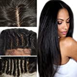 S-noilite® 8A Front Lace Wigs Real Brazilian Human Hair with Baby Hair Straight Lace Wig Natural Black