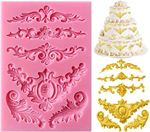 RUTICH Silicone Sculpted Flower Lace Mould Candy Jello 3D Cake Mold