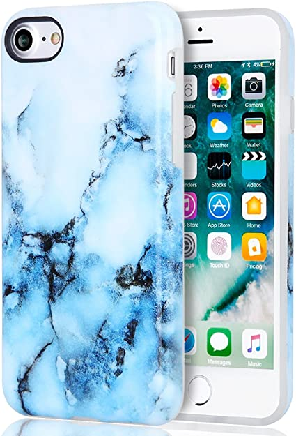 Amazon Com Iphone 7 Case Iphone 8 Case Blue Marble Best Protective Cute Women Girls Clear Slim Shockproof Glossy Soft Silicone Rubber Tpu Cover Phone Case For Apple Iphone 7 Iphone 8