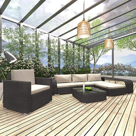 vidaXL - Juego de 8 Muebles de jardín con Cojines, Resina Trenzada, Color Negro: Amazon.es: Jardín