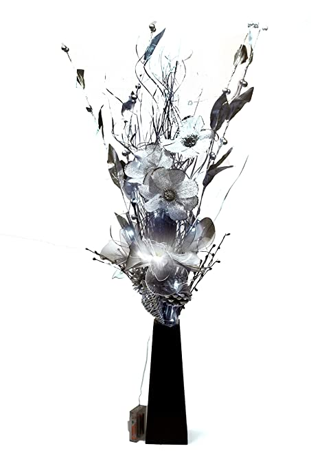 275 & Link Products: Wood Vases With Artificial Flowers \u0026 Grasses \u0026 LED Lights (Bright Silver 85 cm)