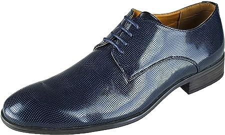 Evoga - Zapatos de hombre clase azul oscuro pintura Man's Shoes elegante ceremonia