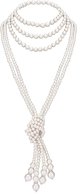 """ArtiDeco Gatsby Collar de Perlas Largo con Nudo Vintage 1920 Flapper Accesorios Perlas de Imitación Collar de Perlas con Nudo 49"""" 59"""""""