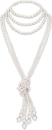 ArtiDeco Gatsby Collar de Perlas Largo con Nudo Vintage 1920 Flapper Accesorios Perlas de imitación