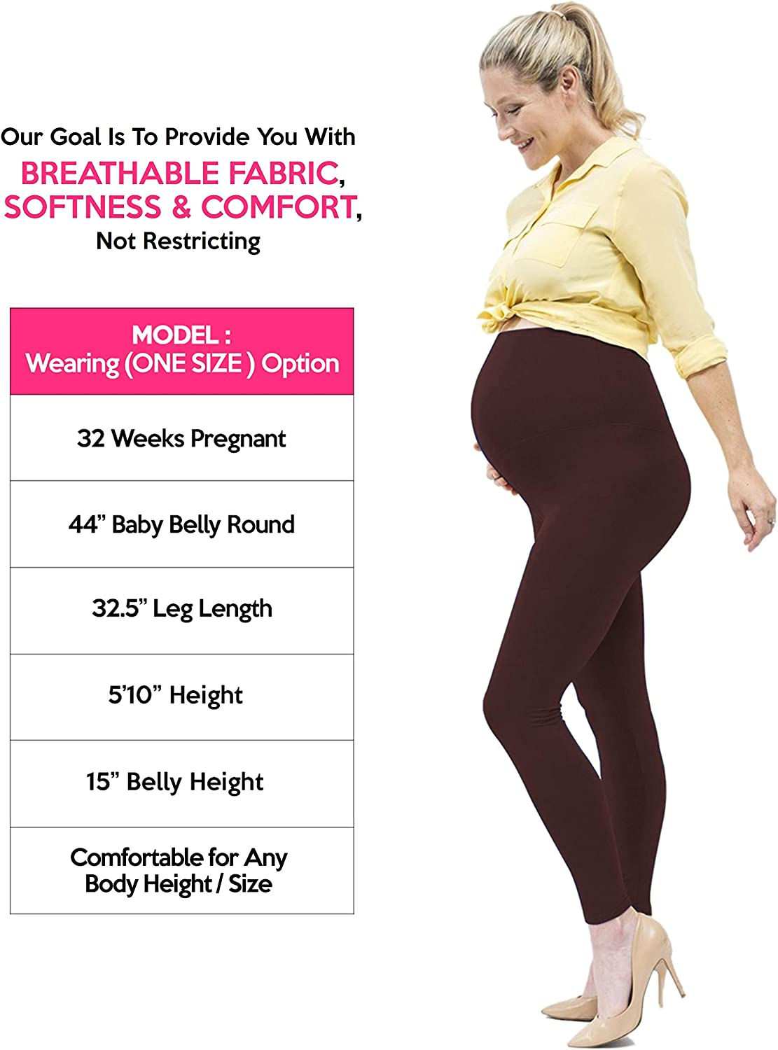 Maternity Leggings Over The Belly Yoga Pregnancy Pants Opaque Super Soft Full Ankle Length 8 Colors