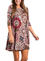 Dearlovers Women Floral Print Long Sleeve Casual Dress with Pockets