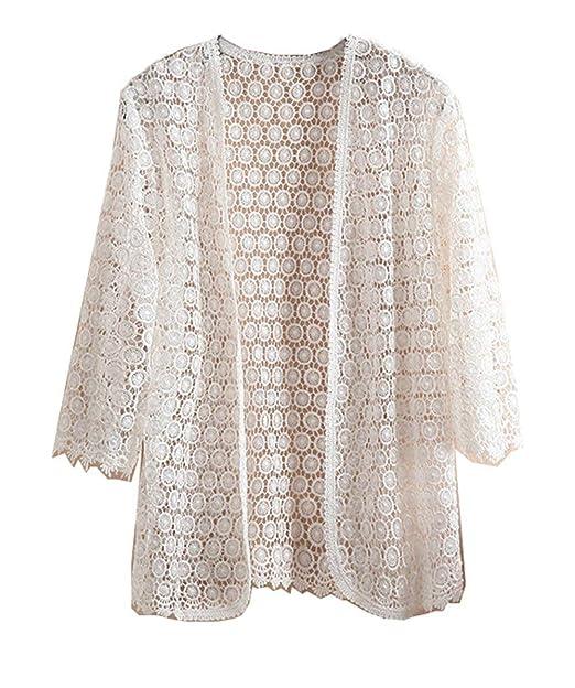 Mujer Cardigan Primavera Verano Tallas Grandes Encaje Abierto Chaqueta Fino Vintage Perspectiva Proteccion Solar Tunicas Camisas