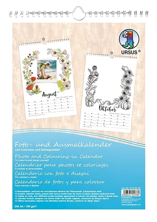 Calendario Din A4.Ursus 6160000 Photo Plants Design Colouring Calendar A4