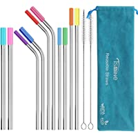 "Reusable Stainless Steel Straws Set - Tsmine FDA-Approved Metal Drinking Straws 10.5""& 8.5"" Bent Straight Smoothie Straws for 20 & 30oz Tumbler,Set of 8 with 8 Silicone Tips & 2 Cleaning Brush & Pouch"