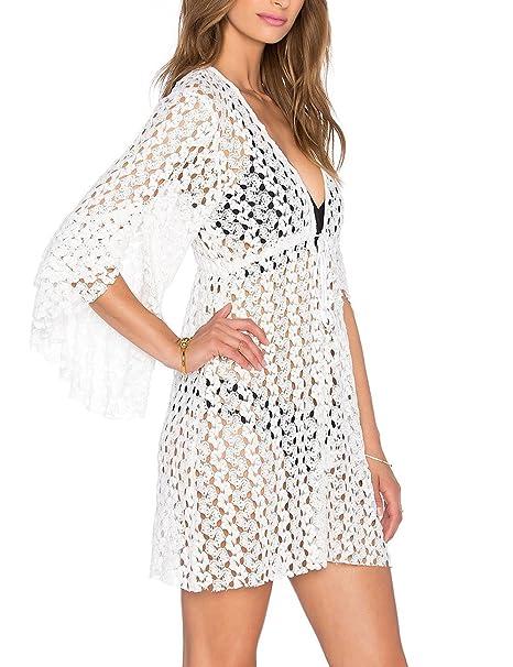 KKia Mujer Encaje Bikini Blusas Camisolas Vestido para Playa