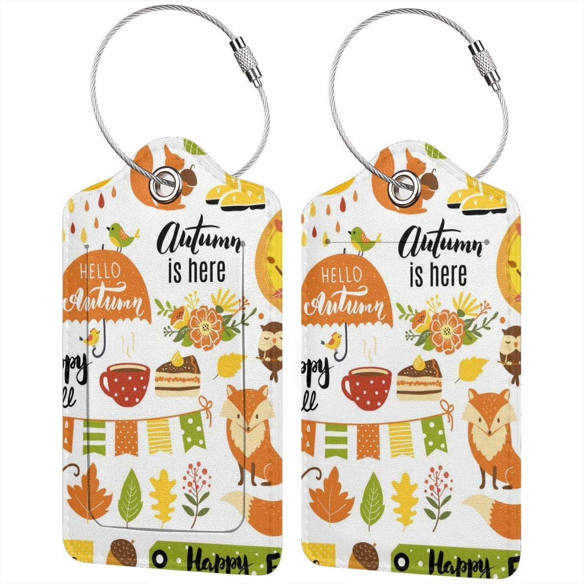 Lucaeat Autumn Forest Animals Luggage Tag PU Leather Bag Tag Travel Suitcases ID