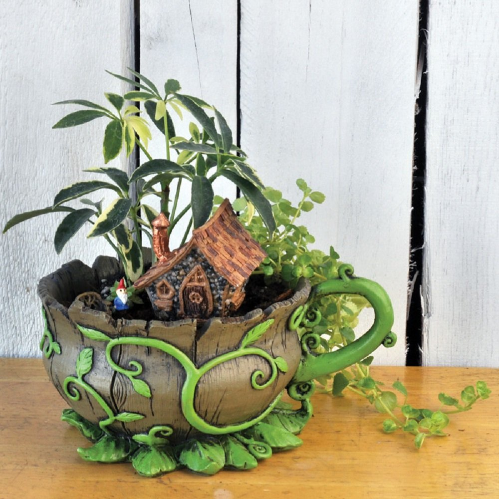 Georgetown Home & Garden, Fiddlehead Fairy Garden, Woodland Vines Tea Cup Planter and Accessories Set. Includes Teacup Planter, Micro Gnome, and Micro Home.