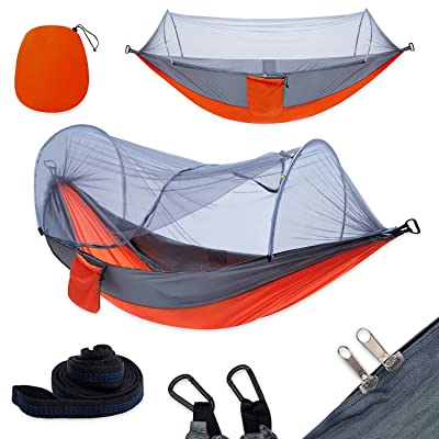 yoomo Camping Hammock with Mosquito Net & Tree Straps Lightweight Parachute Fabric Travel Bed for Hiking, Backpacking, Backyard. (Gray/Orange): Sports & Outdoors [5Bkhe1501419]