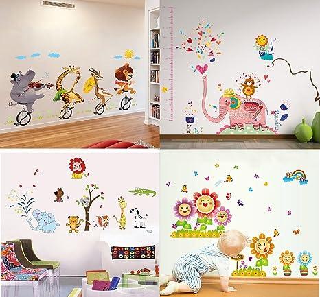 Buy GoldenCart Wall Stickers COMBO Jungle Cartoon Cute Animals