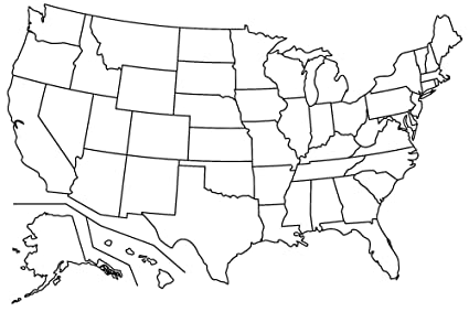 Amazoncom Home Comforts Laminated Map 17 Blank Maps The U S - Us-blank-map-printable