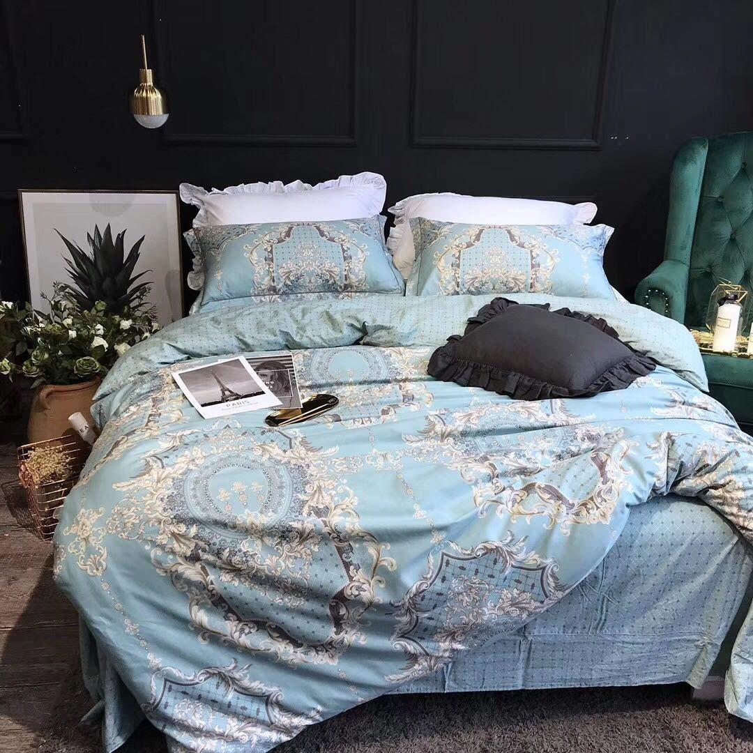 Softta European Bedding Sets Damask Paisley Pattern Duvet Cover Full 3 pcs 100% Cotton Floral PrintBlue