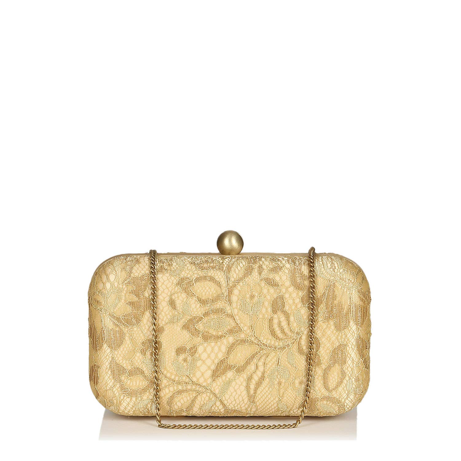 hard box framed Silk Chantilly lace black gold off white party Evening clutch for ladies