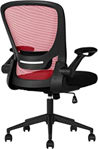 Home Office Chair Ergonomic Desk Chair Mesh Computer Chair with Lumbar Support Flip-up Arms Swivel Rolling Executive Task Chair Adjustable Chair for Adults(Red)