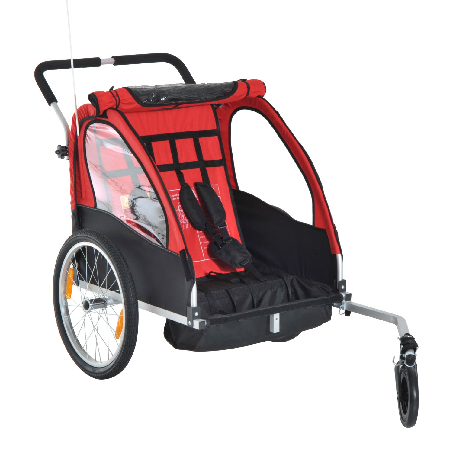 Aosom Double Seats Baby Kids Bicycle Trailer & Stroller with All Weather Portable Canopy Shield and Dual Wheels (Black/Red) Aosom Canada CA440-002RD0231