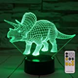 Dinosaur 3D Night Light Bedside Lamp 7 Colors Changing with Remote Control Best Birthday Gifts for Boys Girls Kids Baby (Dinosaur Triceratops) (NO1)