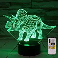 Dinosaur 3D Night Light Bedside Lamp 7 Colors Changing with Remote Control Best Birthday Gifts for Boys Girls Kids Baby (Dinosaur Triceratops)