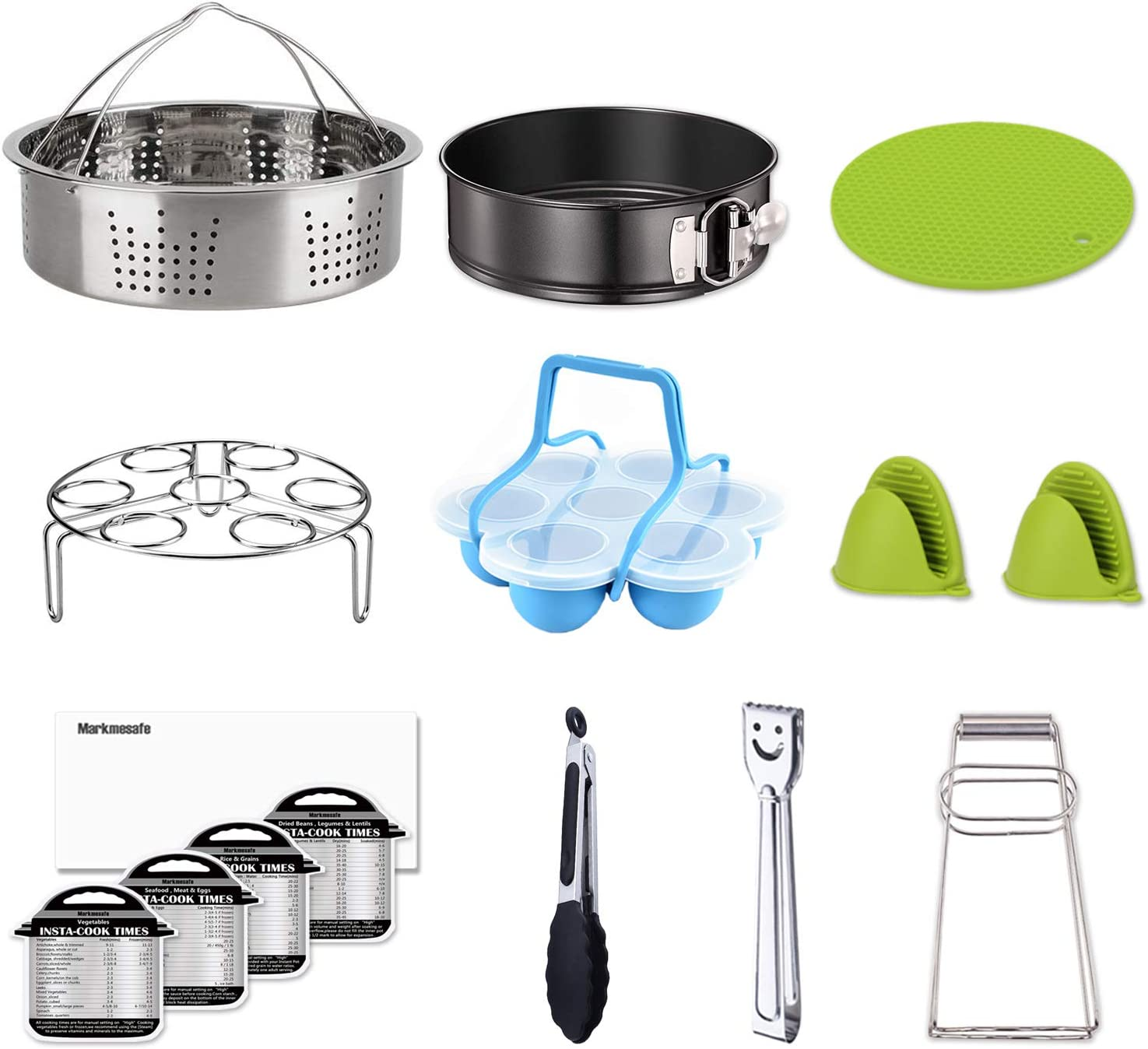 Springform Pan Pressure Cooker Accessories Set Fits Instant pot 6,8 Qt Magnetic Cheat Sheets Silicon Egg Bites Mold Egg Steamer Rack 15-Piece Include Steamer Basket for Instant Pot Accessories