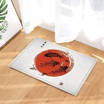 Koi Karpfen Hand Gezeichnet In Traditionelle Japanische Art Rote Sun
