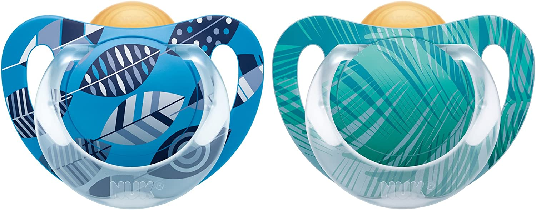 NUK 10171072 Genius Color - Látex Chupete, pezón de ortodoncia, BPA, de 0 a 6 meses, tamaño 1, color: azul / verde