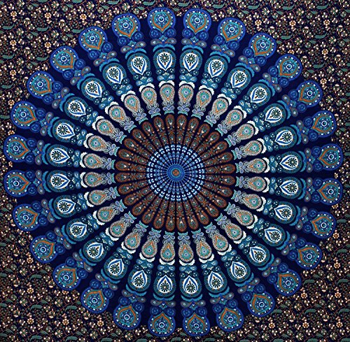 GLOBUS CHOICE INC. Blue Queen Mandala Tapestry, Indian Hippie Wall Hanging, Bohemian Wall Hanging, Bedspread Beach Coverlet Throw Decor Art