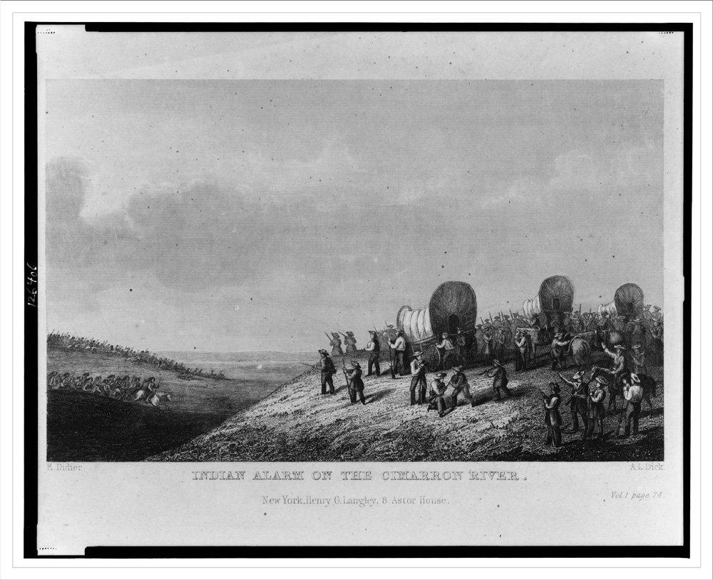 Historic Print (L): Indian alarm on the Cimarron River / E. Didier ; A.L.  Dick.