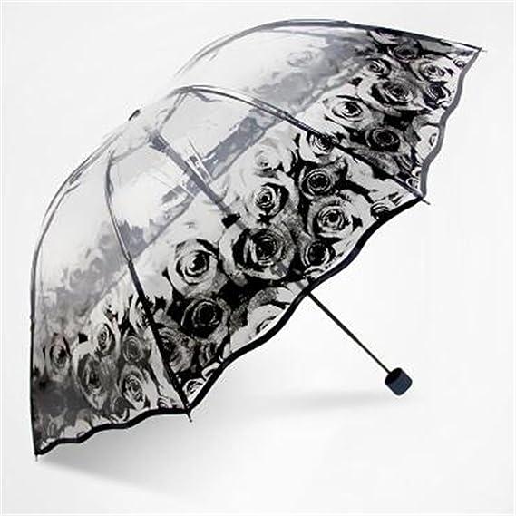Amazon.com: Kongsta Hot Selling Transparent Umbrella Three Folding Umbrella Rain Women Cheap Paraguas Small Fresh Parasols 4 Designs Brief: Sports & ...