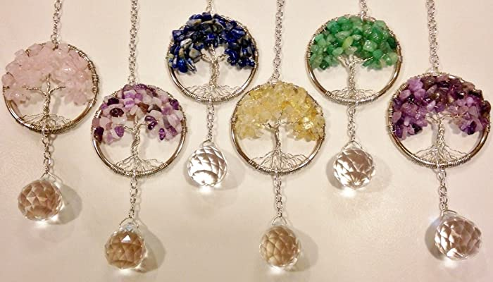 Rear View Mirror Car Charm Sun Catchers Gemstone Tree
