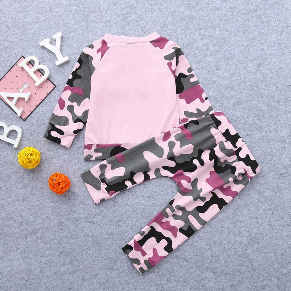 Pantalones vpass Conjuntos Beb/é Ni/ña 2pcs Conjunto Ropa Bebe Unisex Recien Nacido Verano 0-24 Meses Ni/ños Camuflaje Mono Camisete de Manga Larga Tops