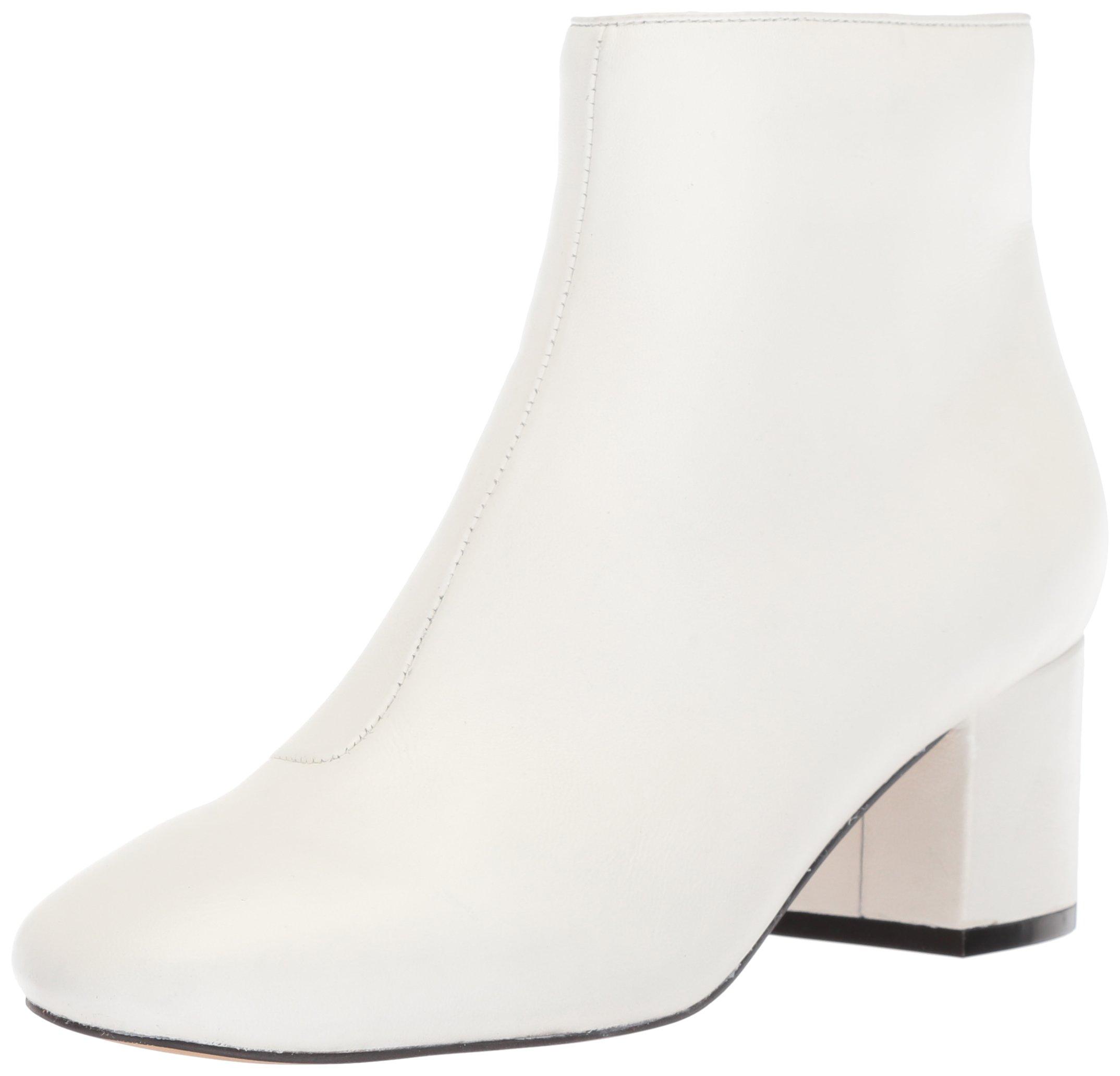 The Fix Women's Daniella Block-Heel Bootie Ankle Boot, Bright White Leather, 9.5 B US
