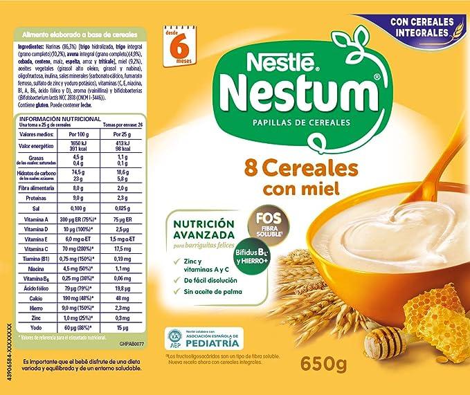 Nestlé Papillas NESTUM Cereales para bebé con miel - 3 latas de 650g -Total 1950g: Amazon.es: Alimentación y bebidas