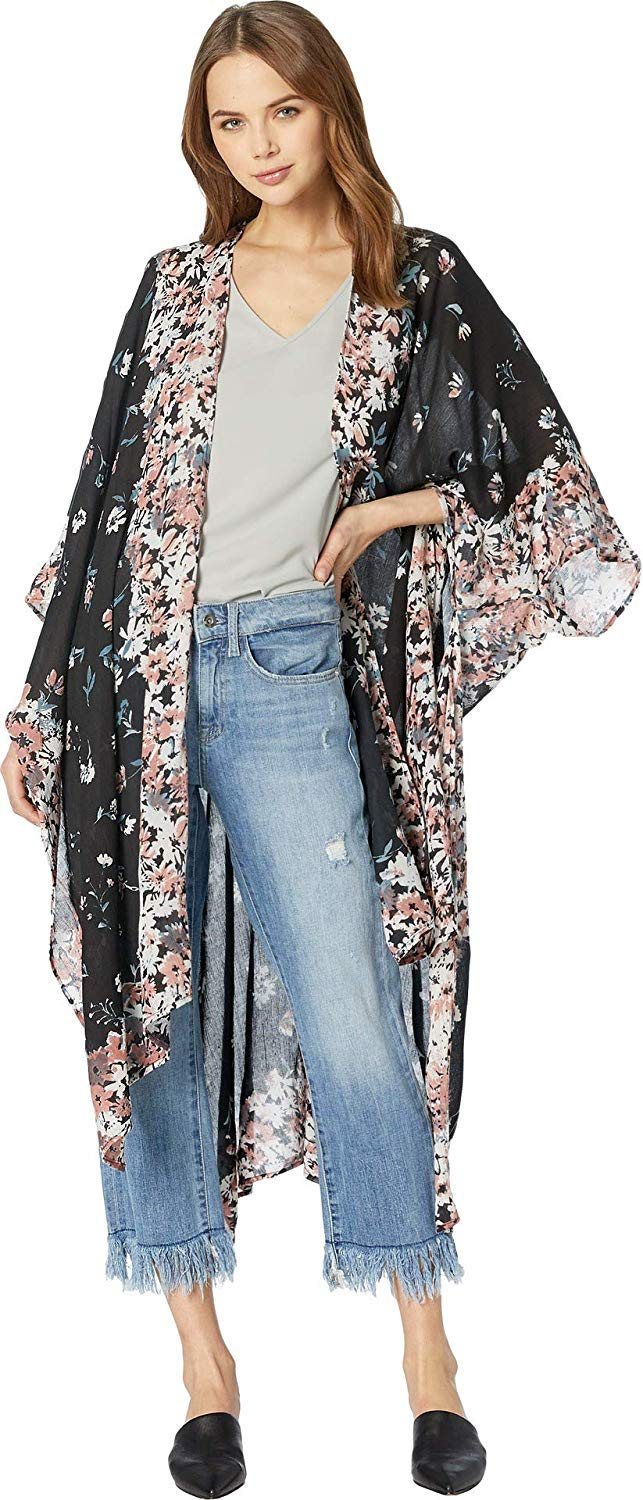 Michael Stars Women's Rose Ruana with Anise Floral Placed Print, whisper multi, One Size