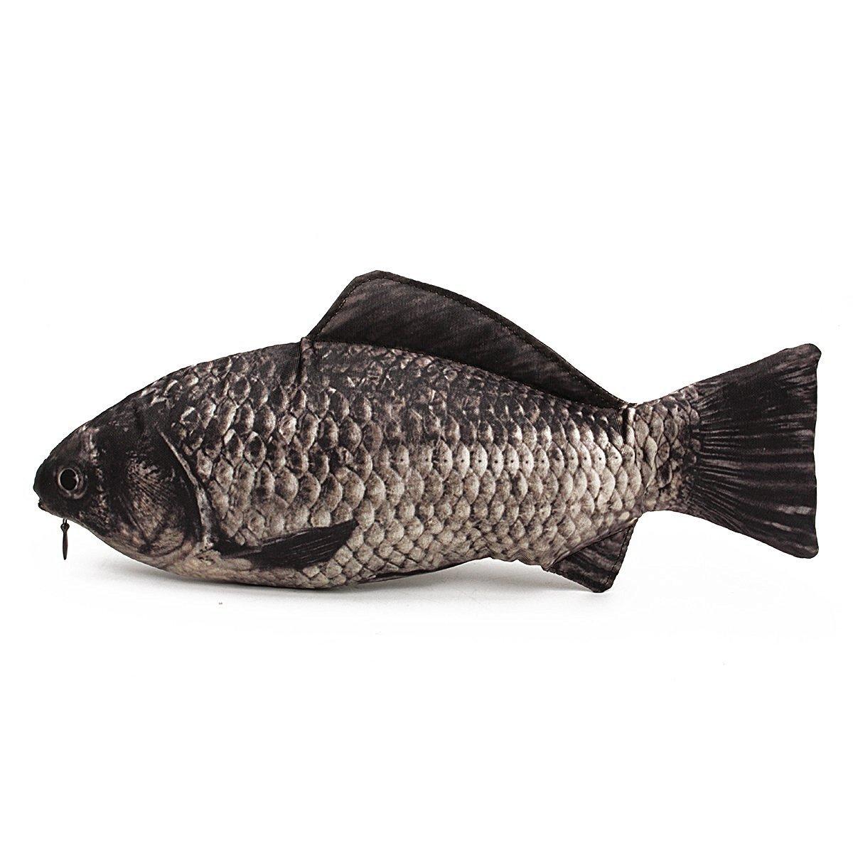 Aikesi Bolso del lápiz Diversión y creativo la forma de los pescados Bolsa cosmética de la bolsa con la cremallera 1pcs