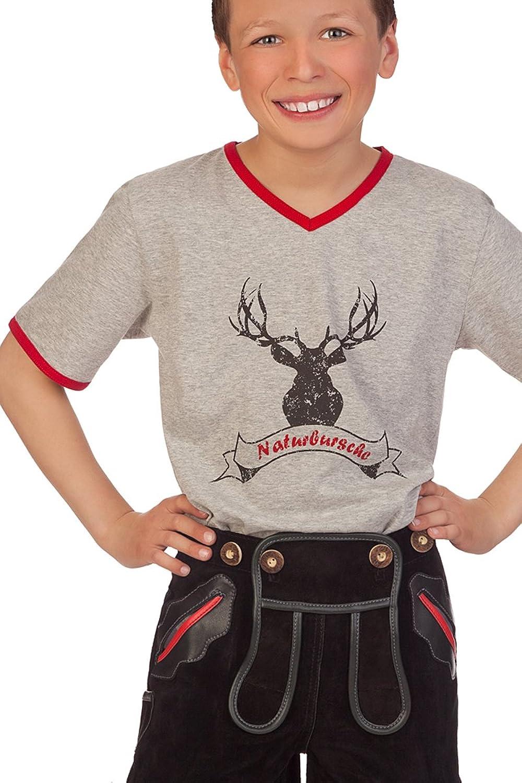 Trachten Kinder Fun Shirt - NATURBURSCHE - hellgrau