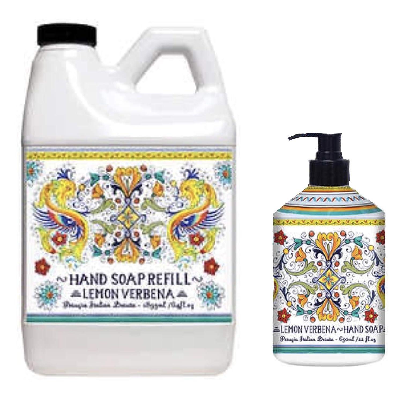 Home and Body Company Italian Deruta Hand Soap Refill Set, 16 oz Hand Soap with a 64 oz Refill (Lemon Verbena)