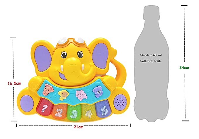 Popsugar Cute Baby Elephant Mini Musical Piano with Music, Animal Sounds and Flashing Lights Toy for Kids,