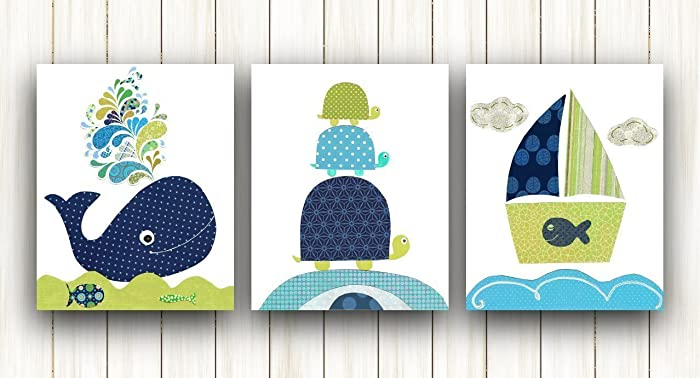 Nautical Nursery Wall Art Kids Room Decor   Baby Nursery Art   Bathroom Art    Set