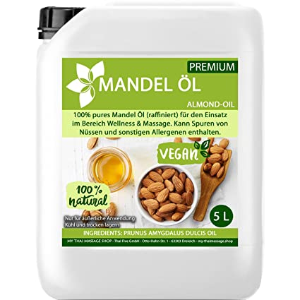 Aceite MyThaiMassage Premium de almendra dulce 5000ml (5 litros) - 100% puro -
