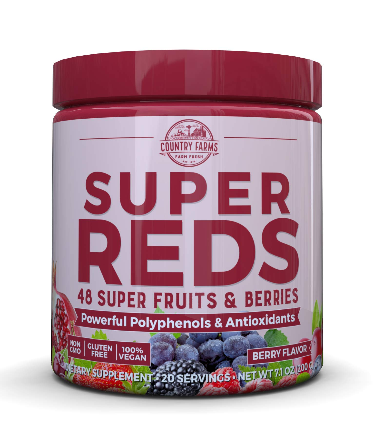 Country Farms Super Reds Energizing Polyphenol Superfood, Antioxidants, Drink Mix, 20 Servings by Country Farms