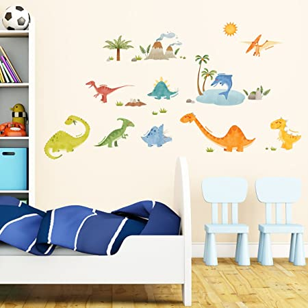 Decowall dw 1505 dinosaurs kids wall stickers wall decals peel and stick removable wall stickers