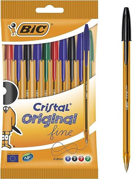 BIC Cristal Original Fine - Bolígrafos punta fina (0.8 mm ...