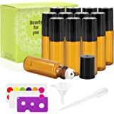 Mavogel 12 Pack 5ml Amber Glass Roller Bottles With Stainless Steel Roller Ball - Include 36 Peices Labels, Essential Oils Opener, 1ml Pipettes, Stainless Steel Mini Funnel