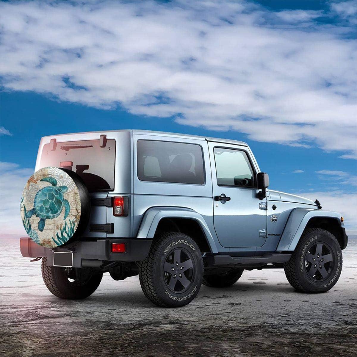 MSGUIDE Spare Tire Cover Sea Turtle for Jeep Trailer Rv Truck 14 15 16 17 Inch Sunscreen Dustproof Corrosion Proof Wheel Cover