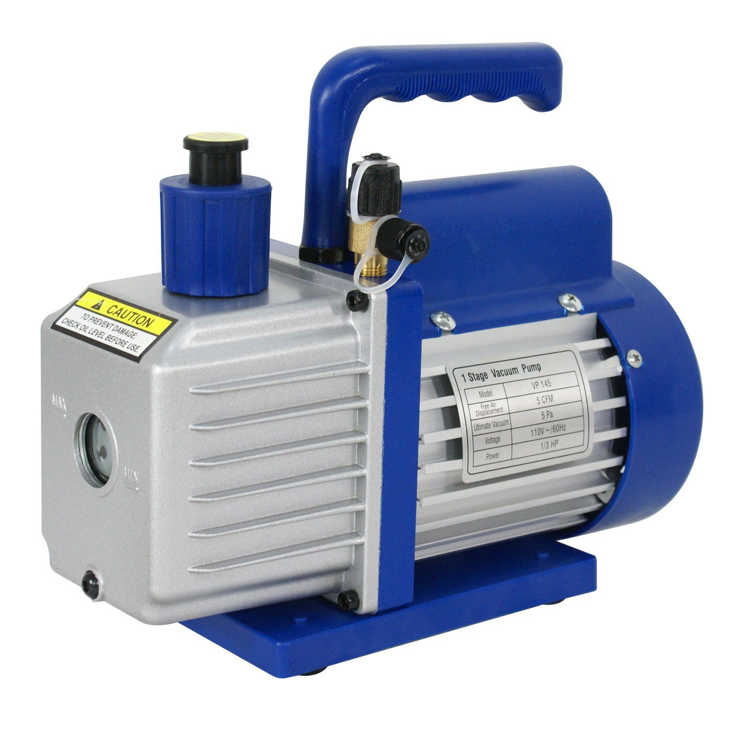ZENY 5CFM Single-Stage 5 Pa Rotary Vane Economy Vacuum Pump 1//3HP Air Conditioner Refrigerant HVAC Air Tool VP145 Blue