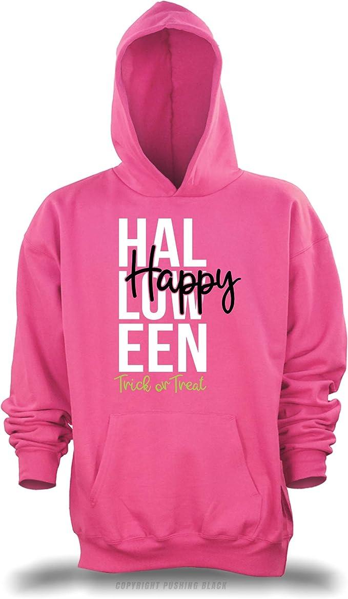 Trick or Treat Unisex Pullover Hoodie PUSHING BLACK Happy Halloween
